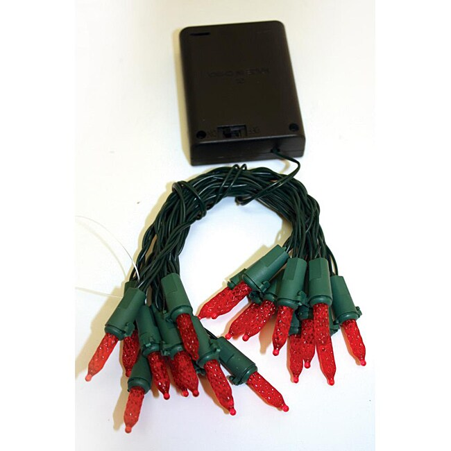 Good Tidings 22712 Light Set LED Battery Operated M5 20 Red Green Wire