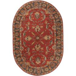 Hand-tufted Kiso Rust Traditional Border Wool Rug (8' x 10' Oval)