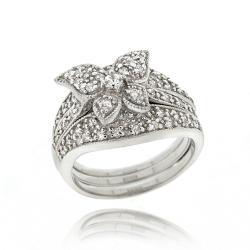 Icz Stonez Sterling Silver Cubic Zirconia Butterfly Ring Set (1 2/5ct TGW)