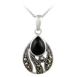 Glitzy Rocks Sterling Silver Onyx and Marcasite Teardrop Necklace