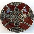 Petite Majestique Burgundy Ceramic and Metal Decorative Plate (Morocco)