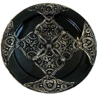 Petite Majestique Black Ceramic and Metal Decorative Plate (Morocco)