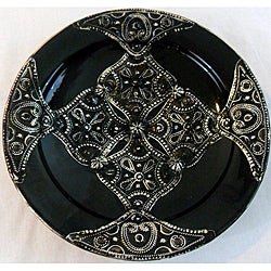 Petite Majestique Black Ceramic and Metal Decorative Plate (Morocco)