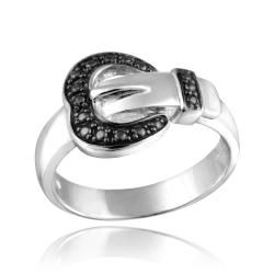 DB Designs Sterling Silver Black Diamond Accent Heart Buckle Ring