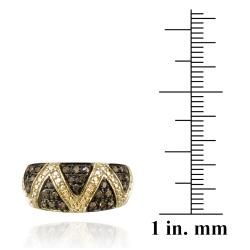 DB Designs 18k Yellow Gold over Silver 1/3ct TDW Champagne Diamond Criss-cross Ring