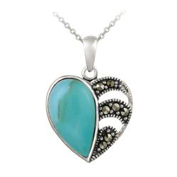 Glitzy Rocks Sterling Silver Created Turquoise and Marcasite Heart Necklace