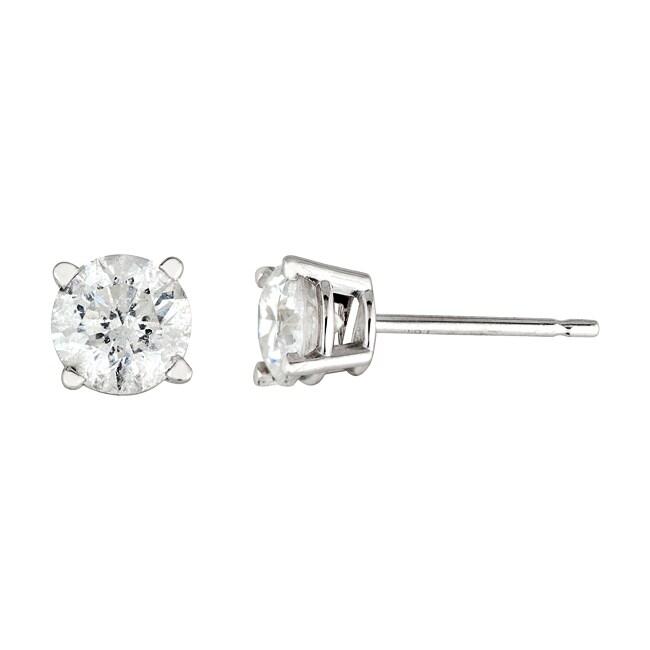 14k White Gold 1ct TDW Round Diamond Stud Earrings (H-I, I2-I3)