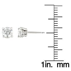 14k White Gold 1ct TDW Round Diamond Stud Earrings (H-I, I2-I3)