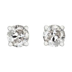 14k White Gold 3/4ct TDW Round Diamond Stud Earrings (H-I, I2-I3)