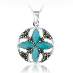 Glitzy Rocks Sterling Silver Created Turquoise and Marcasite Round Flower Necklace
