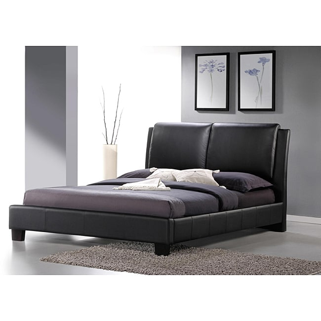 Upholstered Platform Bed : Sabrina Black Upholstered Queen Size Platform Bed - 13977700 ...
