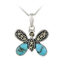 Glitzy Rocks Sterling Silver Created Turquoise and Marcasite Butterfly Necklace