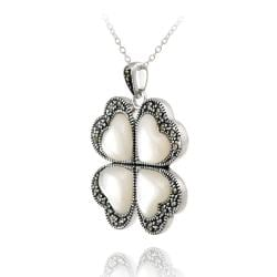 Glitzy Rocks Silver Marcasite and Mother of Pearl Heart Flower Necklace
