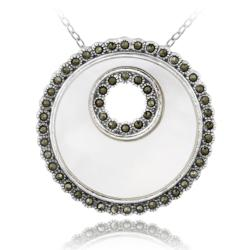 Glitzy Rocks Sterling Silver Marcasite and Mother of Pearl Disc Necklace