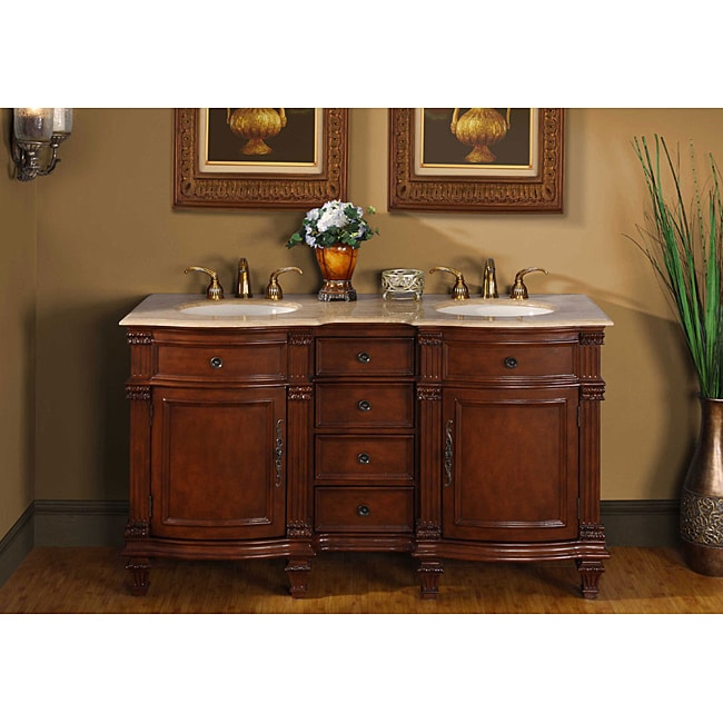 Silkroad Exclusive Travertine Stone Top 60-inch Double Sink Vanity Cabinet