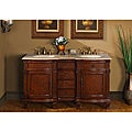 Silkroad Exclusive Travertine Stone Top 60-inch Double Sink Vanity Cabinet