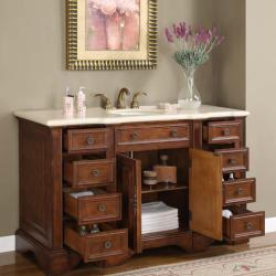 Silkroad Exclusive 58-inch Marble Stone Top Bathroom Vanity Lavatory Single Sink Cabinet