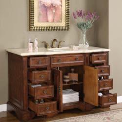 Silkroad Exclusive 58-inch Marble Stone Top Bathroom Vanity Lavatory Single Sink Cabinet
