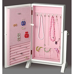 White and Pink Girls Jewelry Box Wall Mount Armoire