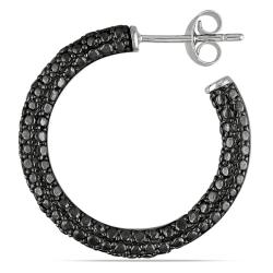 M by Miadora Sterling Silver 1/4ct TDW Black Diamond Hoop Earrings