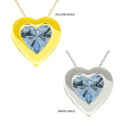10k Gold Created Aquamarine Bezel Necklace