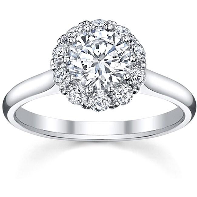 18k White Gold 3/4ct TDW Round Halo Diamond Ring (H-I, SI2-SI3)
