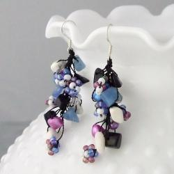 Sterling Silver Gemstone, Pearl and Seed Bead Earrings (5-6 mm)(Thailand)