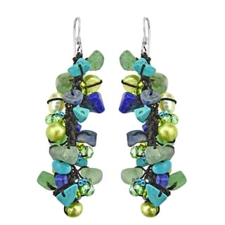 Sterling Silver Lapis, Pearl and Seed Bead Earrings (5-6 mm)(Thailand)