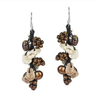 Sterling Silver Turquoise, Pearl and Seed Bead Earrings (5-6 mm)(Thailand)