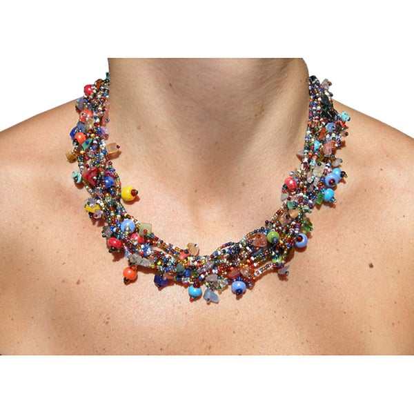 Multicolor Gemstone and Glass Beaded Necklace (Guatamala)