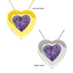 10k Gold Heart-cut Purple Cubic Zirconia Necklace