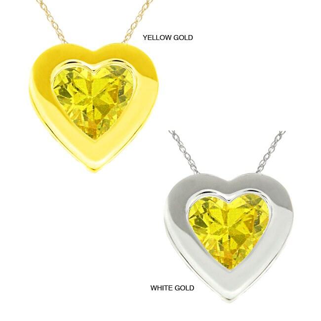 10k Gold Created Golden Topaz Bezel Necklace
