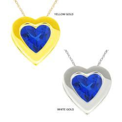 10k Gold Created Sapphire Bezel Necklace