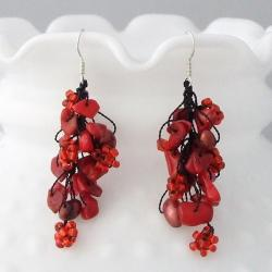 Sterling Silver Red Coral and Pearl Seed Bead Earrings (5-6 mm)(Thailand)