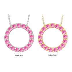 10k Gold Pink Cubic Zirconia Prong Circle Necklace
