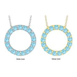 10k Gold Created Aquamarine Prong Circle Necklace
