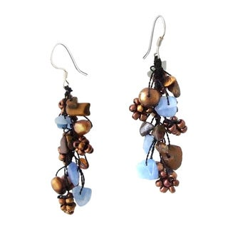 Sterling Silver Chalcedony, Pearl and Seed Bead Earrings (5-6 mm)(Thailand)