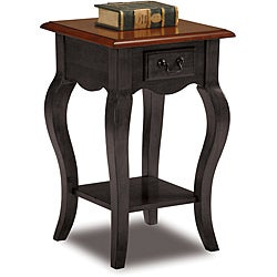 Square Slate and Brown Cherry Side Table