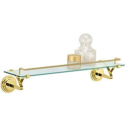 Wall Mounting Glass Shelf with Brass Mounts and Rail