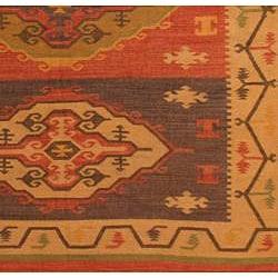 Indo Tribal Flat-Weave Kilim Wool Rug (8' x 10')