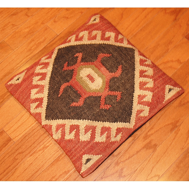 Hand-crafted Tribal Indo Kilim Orange Jute Throw Pillows (Set of Two)