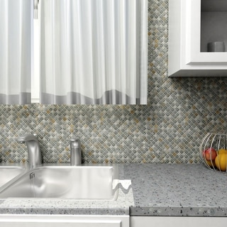 SomerTile Reflections Mini 5/8-in Wisp Glass/Stone Mosaic Tile (Pack of 10) 11.75 x 11.75 in.