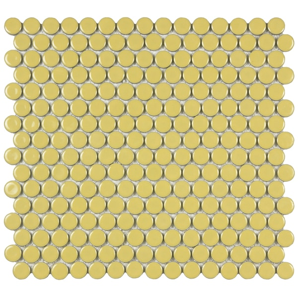 SomerTile 12x12.25-inch Penny Vintage Yellow Porcelain Mosaic Floor and Wall Tile (Case of 10)