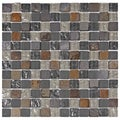 SomerTile Reflections Square 1-in Wisp Glass/Stone Mosaic Tile (Pack of 10) 11.75 x 11.75 in.