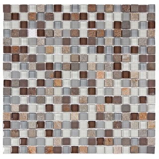 SomerTile Reflections Mini 5/8-in Tundra Glass/Stone Mosaic Tile (Pack of 10, 11.75 x 11.75 in.)