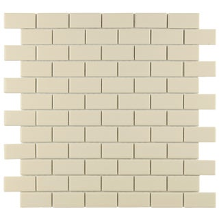 SomerTile Victorian Subway 1x2-in Glossy Biscuit Porcelain Mosaic Tile (Pack of 10)