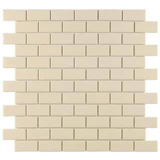 SomerTile 11.75 x 11.75-inch Victorian Subway Glossy Biscuit Porcelain Mosaic Floor and Wall Tile (C