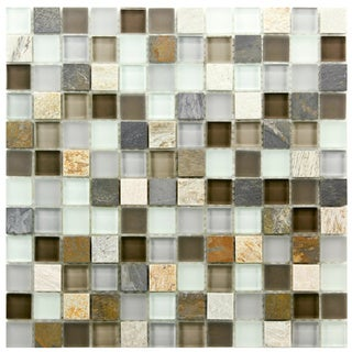 SomerTile Reflections Square 1-in Tundra Glass/Stone Mosaic Tile (Pack of 10) 11.75 x 11.75 in.