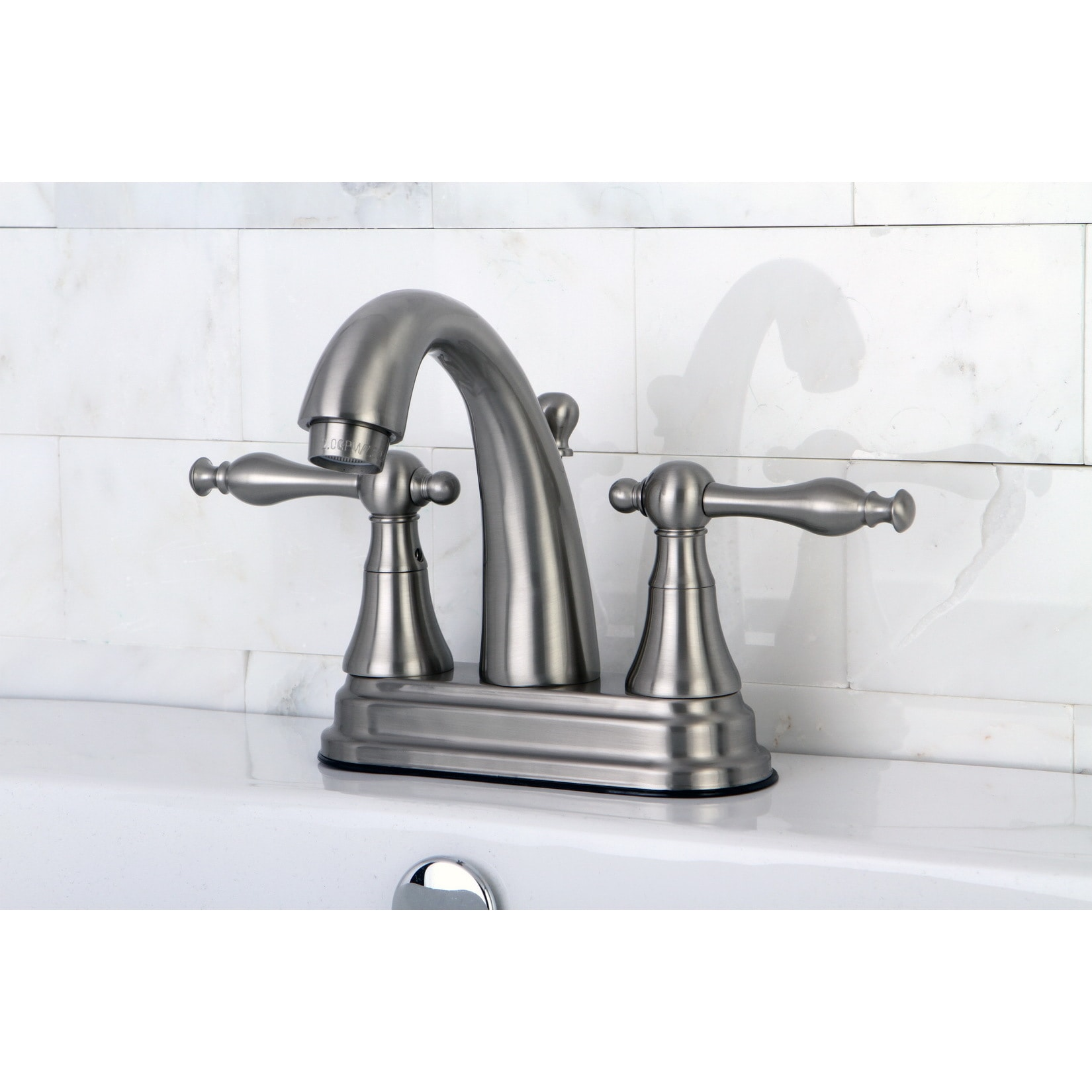 Overstock.com Classic Two-Handle Satin Nickel Bathroom Faucet