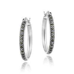 Glitzy Rocks Sterling Silver Marcasite 25-mm Hoop Earrings